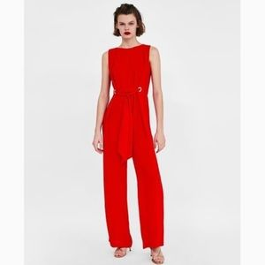 Zara Red Jumpsuit with Eyelet